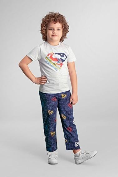 Superman  Lisanslı Açık Gri Erkek Çocuk Pijama Takımı Gri
